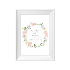 Water colour wreath birth print