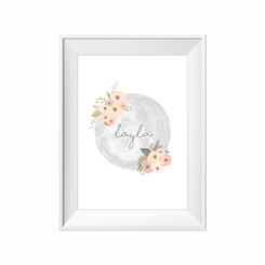 Blush & Gold Floral Personalised Print