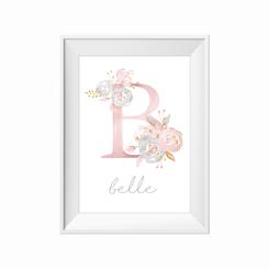 Floral Initial personalised print