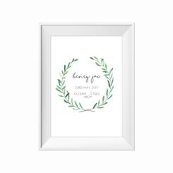 Green wreath birth print