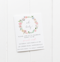 Floral Wreath Oh Baby Invitation