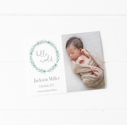 'Hello World' Birth Announcement Cards