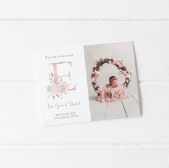 'Floral Initial Welcome to the World' Birth Announcement Cards