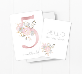 Dusty Pink Floral Baby Milestone Cards