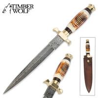 Timber Wolf Elite Damascus & Bone Dagger Knife