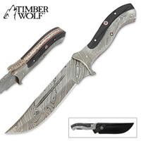 Timber Wolf Damascus Steel Fixed Blade Buffalo Horn Bowie Knife