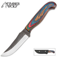 Timber Wolf Colorful Stripes Fixed Blade Hunting Knife With Sheath