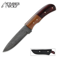 Timber Wolf Deer Hunter Olive Red Wood Damascus