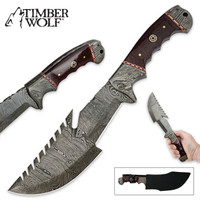 Timber Wolf Multifunctional Sawback Fixed Blade Damascus Survival Hunting Knife