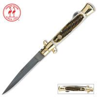 Kissing Crane Burnt Bone Damascus Stiletto Folding Knife