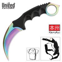 United Cutlery Titanium Rainbow Honshu Karambit With Shoulder Harness