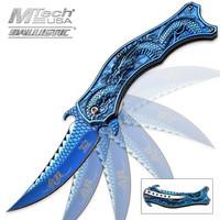 Iridescent Blue Flying Dragon Assisted Opening Folding Pocket Knife