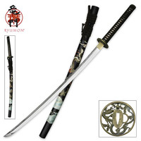 Ryumon Carbon Steel Samurai Katana with Dragon Tsuba
