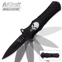 Dark Side Blades Silver Skull Assisted Opening Folding Pocket Knife