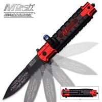 MTech Ballistic Firefighter Assisted Opening Resuce Pocket Knife With LED Light