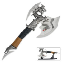 Dragon Fantasy Axe with Stand