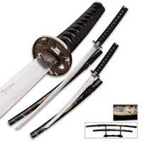 2 Piece Samurai Sword Collector Set with Wooden Display Stand