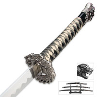 3 Pc. Coiled Dragon Samurai Sword Set & Display Stand