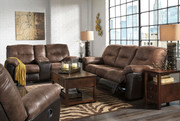 Follett Coffee Reclining Sofa, Double Reclining Loveseat with Console & Rocker Recliner