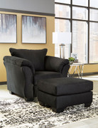 Darcy Black Chair with Ottoman