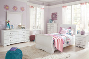 Anarasia White 6 Pc. Dresser, Mirror, Chest & Twin Sleigh Bed