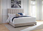 Contemporary Upholstered Beds Beige King Upholstered Bed