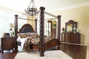 North Shore Dark Brown 8 Pc. Dresser, Mirror, Chest & King Poster Bed