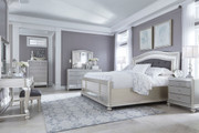 Coralayne Silver 11 Pc. Dresser, Mirror, Chest, California King Upholstered Panel Bed, 2 Nightstands, Vanity with Mirror & Upholstered Stool