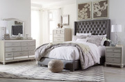 Coralayne Silver 5 Pc. Dresser, Mirror, Queen Upholstered Bed & Nightstand