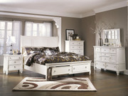 Prentice White 7 Pc. Dresser, Mirror, Chest, Queen Sleigh Storage Bed & Nightstand