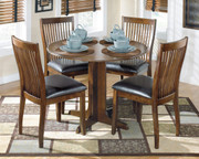 Stuman Medium Brown 5 Pc. Round Drop Leaf Table & 4 Upholstered Side Chairs