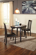 Hammis 3 Pc. Round Dining Room Drop Leaf Table & 2 Upholstered Side Chairs