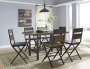 Kavara Medium Brown 7 Pc. Rectangular Dining Room Counter Table & 6 Barstools