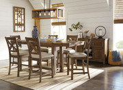 Moriville Gray 8 Pc. Rectangular Dining Room Counter Extension Table, 6 Upholstered Barstools & Server