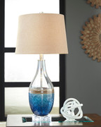 Johanna Blue/Clear Glass Table Lamp