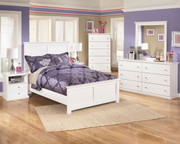 Bostwick Shoals White Dresser, Mirror, Full Panel Bed & 2 Nightstands