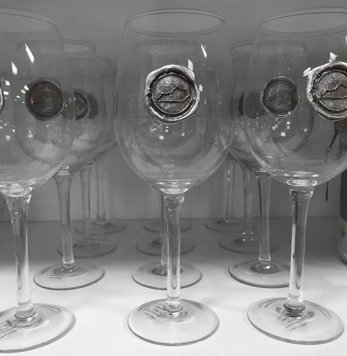 Southern Jubilee Seeded Wine Glass with State of Kentucky Pewter Embellishment