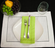 Lime Green Cotton Hemstitch Dinner Napkins 20x20