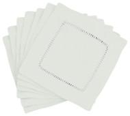 Hemstitch Cocktail Napkins - White 6x6