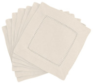 Hemstitch Cocktail Napkins - Ivory 6x6