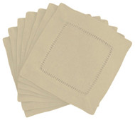Hemstitch Cocktail Napkins - Stone 6x6