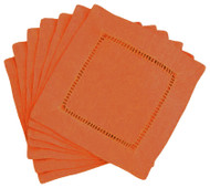 Hemstitch Cocktail Napkins - Paprika 6x6