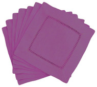 Hemstitch Cocktail Napkins - Purple 6x6