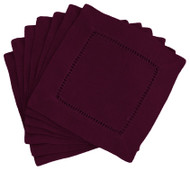 Hemstitch Cocktail Napkins - Aubergine 6x6