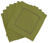 Hemstitch Cocktail Napkins - Artichoke 6x6