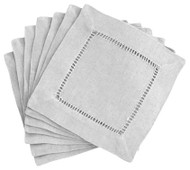 Hemstitch Cocktail Napkins - Gray 6x6