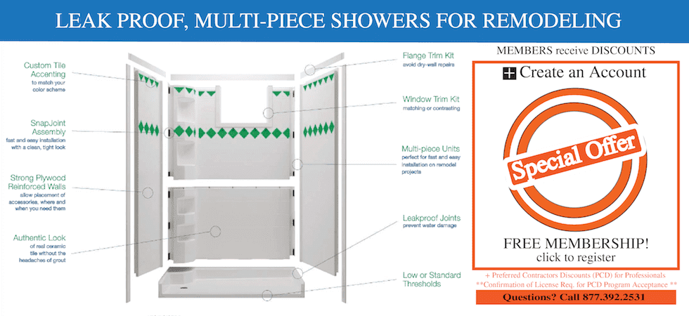 Showers, multi-piece shower stalls, best bath systems, shower bases, curbless showers, no step showers, walk-in showers,