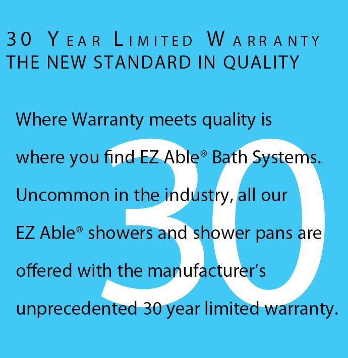 48 X 36 Inch walk in shower has 30 year warranty