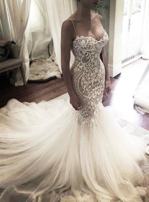 Luxury royal train pearls mermaid wedding dress gowns sexy for Princess mermaid wedding dresses