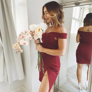 Short Off-the-Shoulder Homecoming Dress with Side Slit